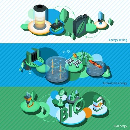 bioenergy: Green energy horizontal banners set with alternative bioenergy saving isometric elements isolated vector illustration