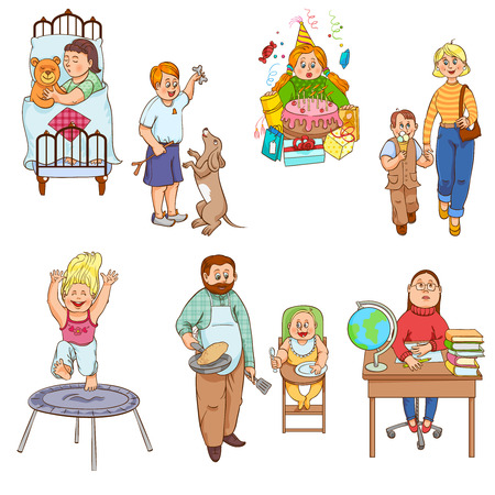 tramp: Parents caring for children and playing kids cartoon style happy family icons collection abstract isolated vector illustration