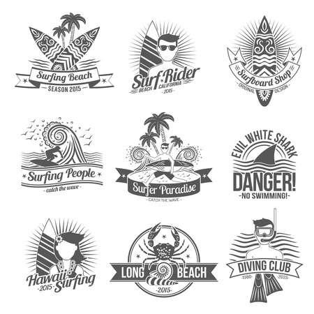 wave surfing: Surf and diving club black label set isolated vector illustration