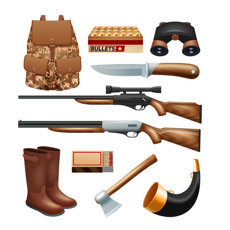 wildlife shooting: Hunting tackle and equipment icons set with rifles knives and survival kit isolated vector illustration Illustration