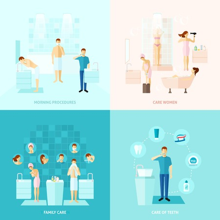 woman in bath: Personal and family care teeth care colored flat icons set isolated vector illustration