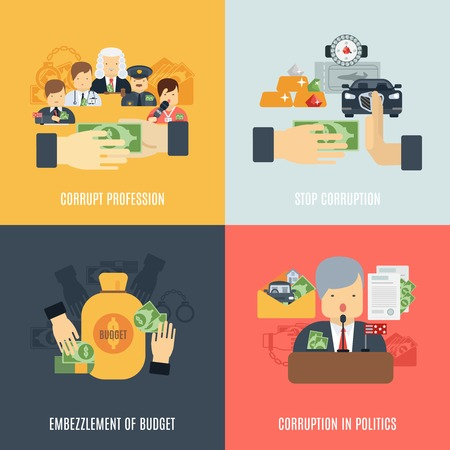 corrupcion: Corrupción concepto de diseño conjunto con iconos planos malversación presupuesto aislado ilustración vectorial