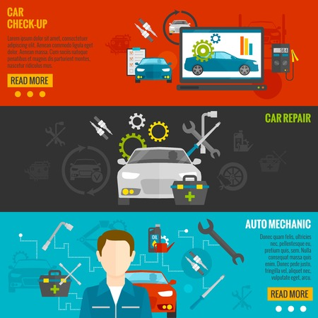 Auto mechanic horizontal banner set with car check-up and repair elements isolated vector illustration