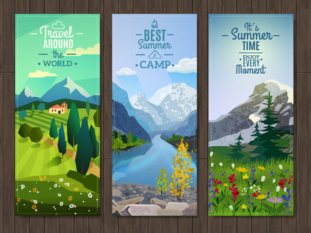 Best active summer vacation destinations travel agency advertisement 3 vertical landscape banners set abstract isolated vector illustration