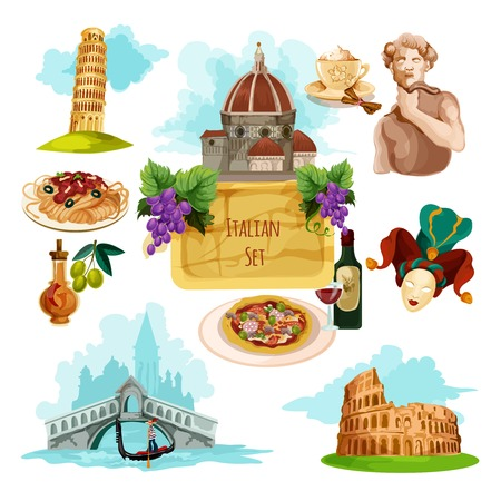 Italy touristic set with cartoon venice gondola rome colloseum and pisa tower icons isolated vector illustration