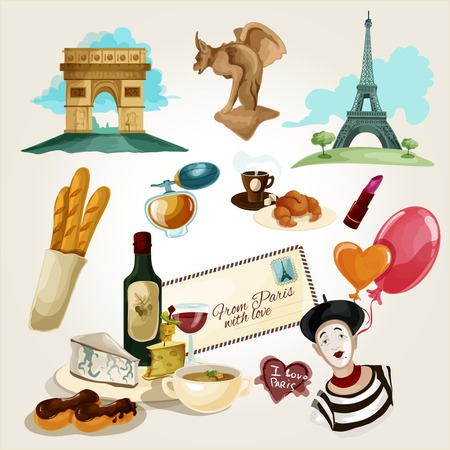 Paris touristic set with cartoon baguette wine croissant wine bottle icons isolated vector illustration