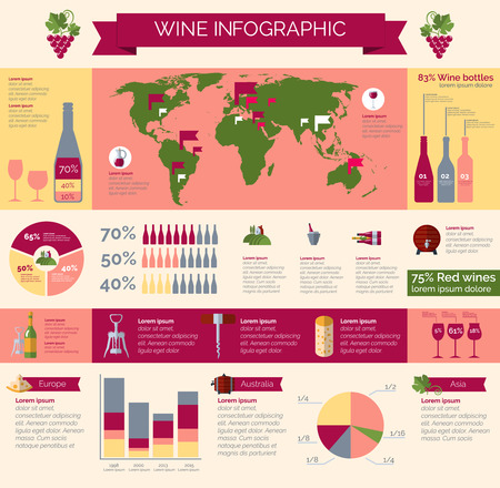 winery: Worldwide wineries production statistic and wine collections distribution and consumption infografic presentation poster print abstract vector illustration