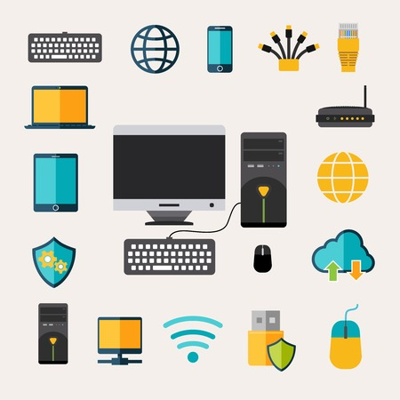 network router: Network gadget set with flat mobile phone tablet and laptop isolated vector illustration Illustration