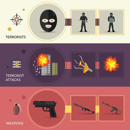terrorist: Terrorism horizontal banners set with terrorist weapons and attacks flat elements isolated vector illustration