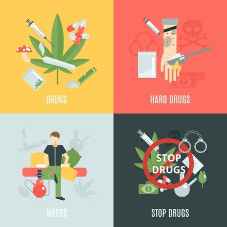 droga: Concepto de dise�o Drogas conjunto con las malas hierbas y los iconos de adicci�n plana aislado ilustraci�n vectorial