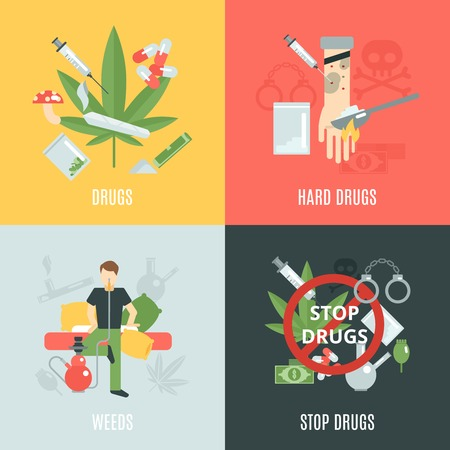 heroin: Drugs design concept set with weeds and addiction flat icons isolated vector illustration