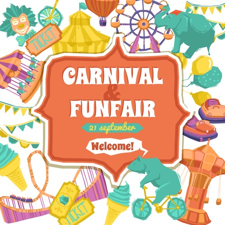 carnival ride: Fun fair traveling circus and carnival promo poster vector illustration