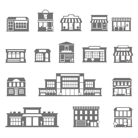 centro comercial: Tiendas comerciales edificios y compras iconos blancos negros conjunto aislado plana ilustración vectorial