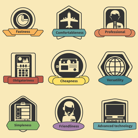 cheapness: Logistic transportation fastness professional comfortableness delivery emblems isolated vector illustration