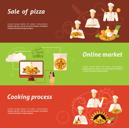 bake: Complex of sale in online market and cooking process of pizza flat horizontal banners isolated vector illustration