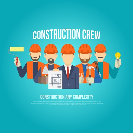 building construction: Builders engineers and work men in hard hats concept flat vector illustration