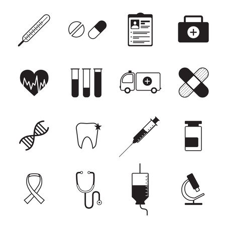 ambulatory: Ambulatory healthcare medical  icons set with heart rate symbol and blood test abstract black isolated vector illustration