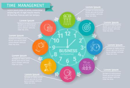 Infografía de gestión de tiempo Fija con símbolos de negocios de dibujo ilustración vectorial