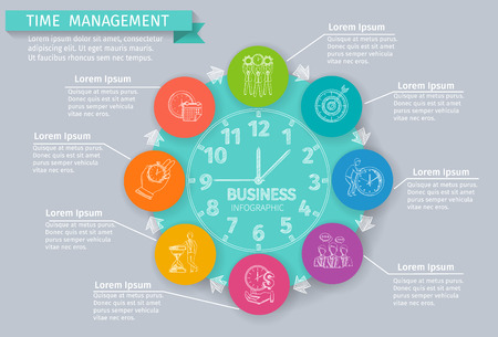 money time: Time management infographics set with sketch business symbols vector illustration