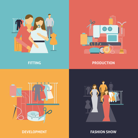 fashion show: Clothes design icons set with production process development and fashion show flat isolated vector illustration