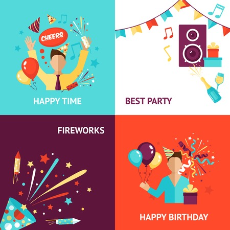 happy birthday party: Concepto de dise�o Partido conjunto con fuegos artificiales cumplea�os iconos planos aislados ilustraci�n vectorial