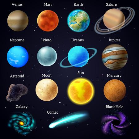 Univers cosmique corps célestes Mars Venus planètes et affiche aide à l'éducation de soleil fond noir abstrait illustration vectorielle