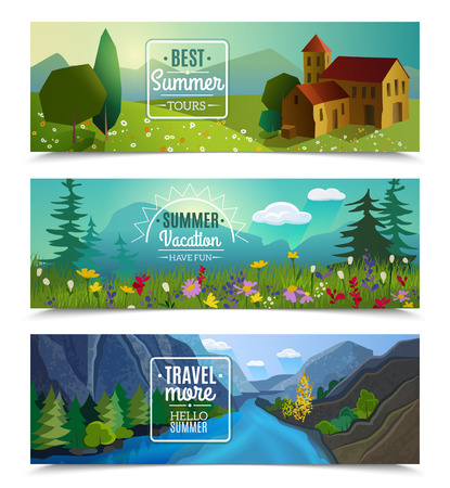 tours: Best tours for summer vacation travel agency advertisement 3 horizontal landscape banners set abstract isolated vector illustration
