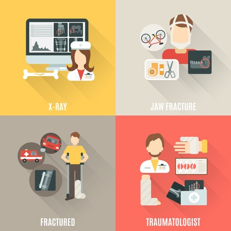 broken leg: Fracture bone design concept set with x-ray and traumatologist flat icons isolated vector illustration