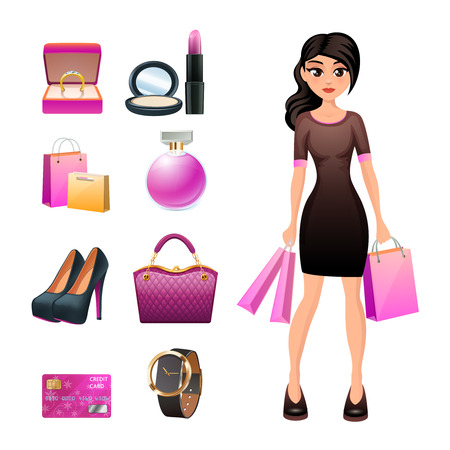 fashion jewelry: Woman shopping character with fashion accessories jewelry and cosmetics elements isolated vector illustration Illustration