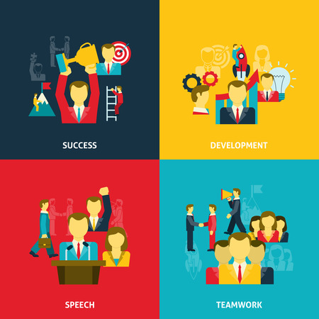 leadership development: Leadership in business icons set with development teamwork speeches and success flat isolated vector illustration