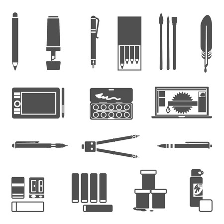inc: Drawing and painter tools flat silhouette icon set isolated vector illustration