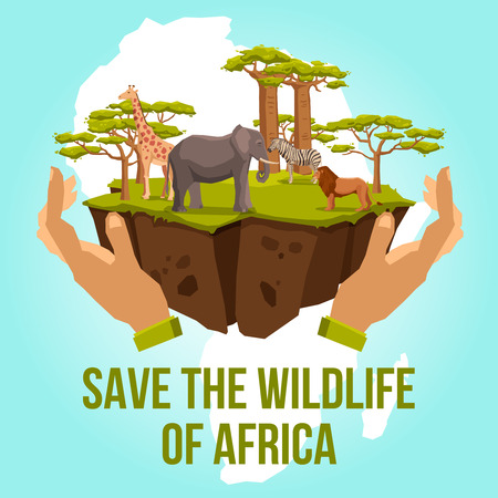 caring hands: Save the wildlife of Africa with hands caring zebra lion giraffe elephant and tree concept vector illustration