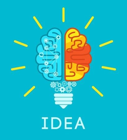 lightbulb: Idea concept with human brain in lightbulb shape flat vector illustration