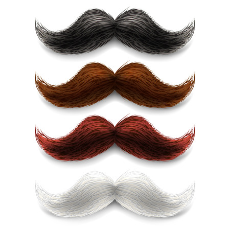 man long hair: Old fashion upper lip long wax groomed and trimmed fake moustaches different color set abstract vector illustration Illustration