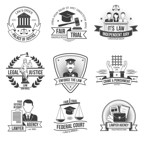 scale of justice: Justice police and law enforcement label set isolated vector illustration Illustration