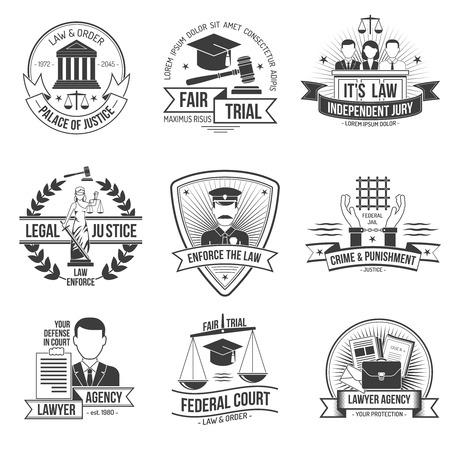 balanza de la justicia: La polic�a y las fuerzas del orden etiqueta Justicia establece ilustraci�n vectorial aislado