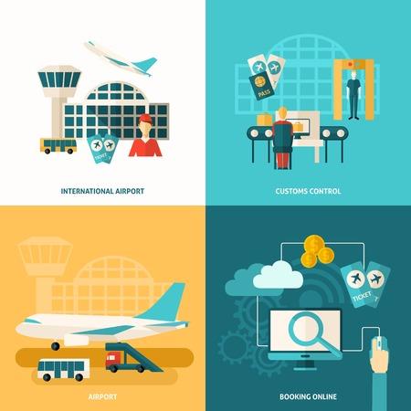 medios de transporte: Concepto de dise�o Aeropuerto ajusta con el control aduanero y los iconos de reserva en l�nea planos aislados ilustraci�n vectorial Vectores