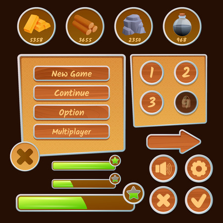 menu buttons: Resource icons and menu elements for strategy games on the brown background isolated vector illustration