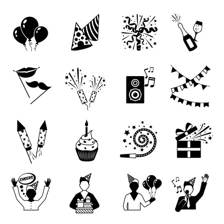 party drinks: Party icons black and white set with gifts music and drinks isolated vector illustration