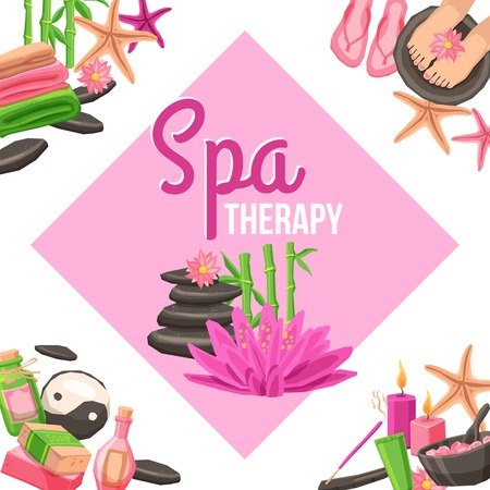 massage therapist: Spa therapy corner set with beauty and health care elements vector illustration
