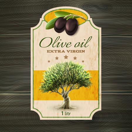 aceite de oliva: Botella virgen extra La mejor calidad marca de aceite de oliva o puede etiquetar con el árbol abstracto ilustración vectorial