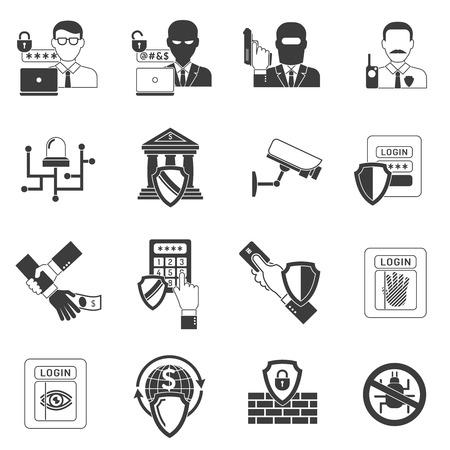 guardia de seguridad: Operaciones seguras de banca por Internet iconos negros fijaron con los piratas inform�ticos que detectan software de malware abstracto escudo ilustraci�n vectorial aislado