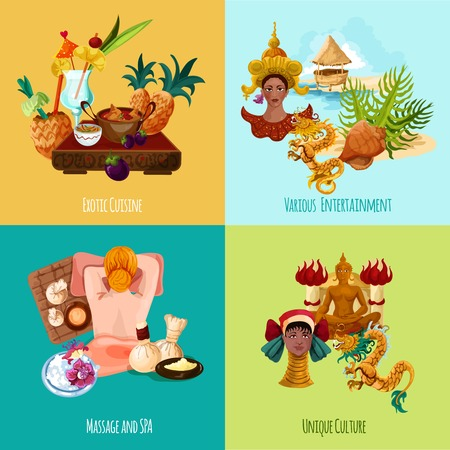 cuisine entertainment: Thailand touristic design concept set with exotic cuisine massage spa culture and entertainment cartoon icons isolated vector illustration Illustration