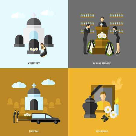 memorial cross: Concepto de diseño Funeral conjunto con el cementerio y el luto iconos planos aislados ilustración vectorial