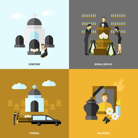 tombstone: Funeral design concept set with cemetery and mourning flat icons isolated vector illustration Illustration