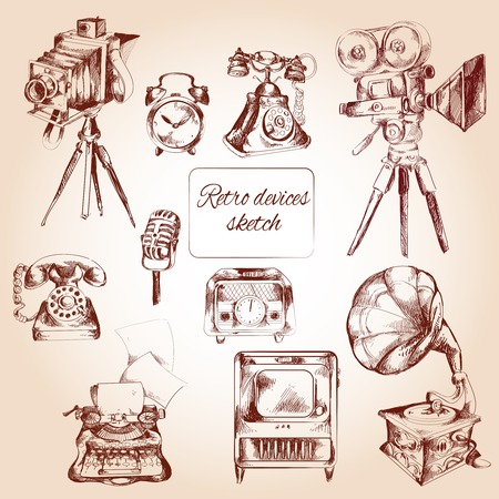 typing machine: Retro devices decorative icons sketch set with film camera telephone typing machine isolated vector illustration Illustration