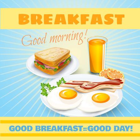 colazione: Classica colazione motel manifesto pubblicitario retrò con panino al prosciutto e uova fritte pancetta pittogrammi astratto illustrazione vettoriale