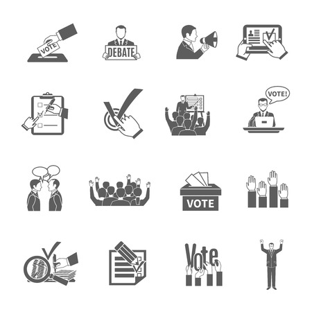 campaign promises: Elections and voting flat grey icons set isolated vector illustration Illustration