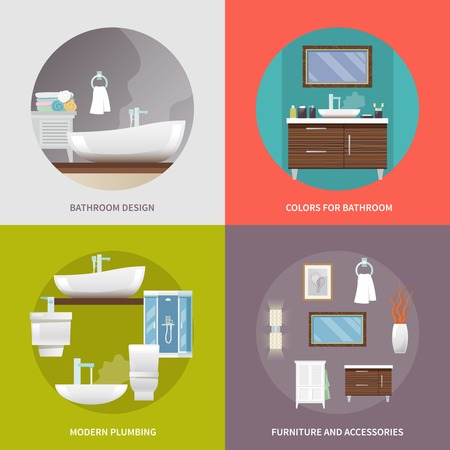 furniture design: Bathroom furniture design concept set with modern plumbing and accessories flat icons isolated vector illustration