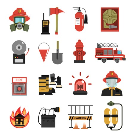 Brand en brandweerman apparatuur icon flat set geïsoleerd vector illustratie